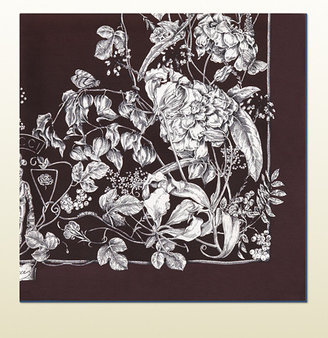 Gucci Botanic Print Silk Twill Scarf