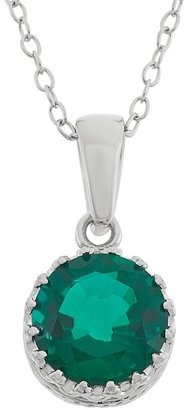 Tiara Lab-Created Emerald Sterling Silver Pendant Necklace