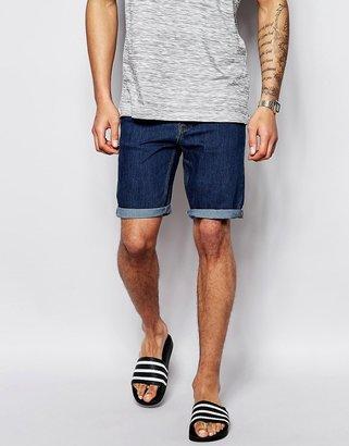 Asos Denim Shorts In Skinny Fit Mid Wash