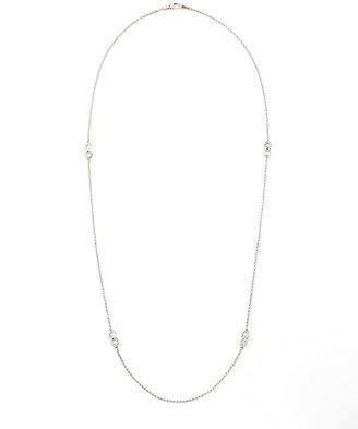 "Lagos Silver Caviar Flute-Station Necklace, 34"""