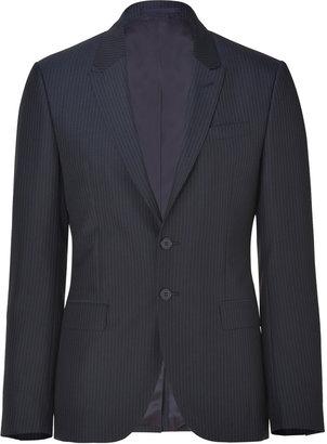 Paul Smith Dark Navy Striped Wool-Blend Peak Blazer