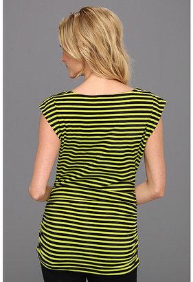 MICHAEL Michael Kors Jardin Stripe Short Sleeve Zip Top