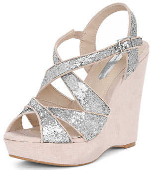 Dorothy Perkins Grey glitter wedges