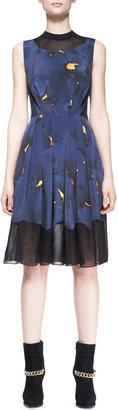 3.1 Phillip Lim Pleated Mesh-Inset Printed Dress