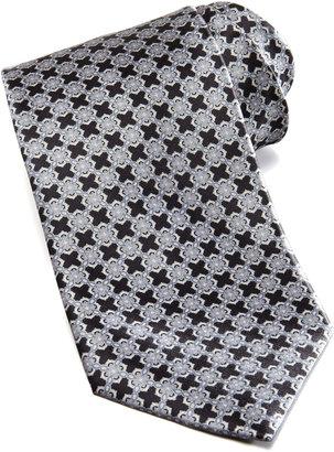 Stefano Ricci Linked Tiles Silk Tie, Black