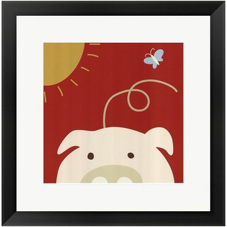 "Lau ""Peek-A-Boo IV Pig"" Framed Art Print by Jin"