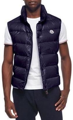 Moncler Tib Puffer Vest, Dark Navy $595 thestylecure.com