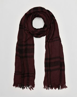 John Varvatos USA Gauzy Large Check Scarf