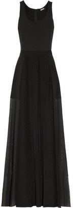 DKNY Jersey and silk-blend chiffon maxi dress
