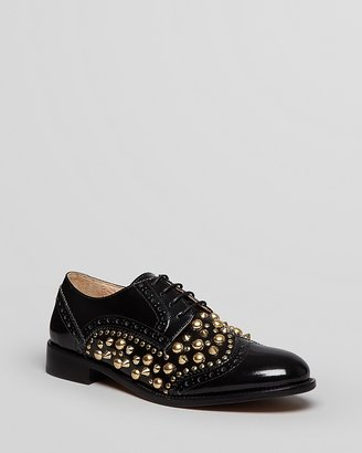 Boy Meets Girl Stokton Lace Up Oxford Flats - Studded