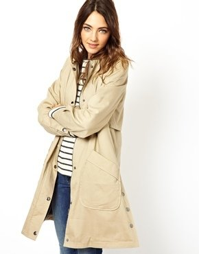 Asos Swing Popper Front Trench - Stone