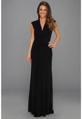 Nicole Miller V-Neck Ruched Gown (Black) - Apparel