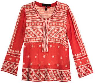 Isabel Marant Loria embroidered chiffon-silk top