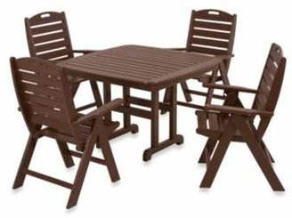 Polywood Nautical 5-Piece Outdoor Dining Set in Mahogany