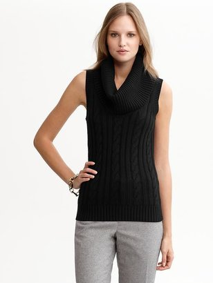 Banana Republic Cable-knit sleeveless cowlneck