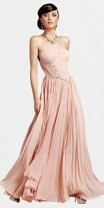 Mignon Strapless Accordian Pleated Evening Gowns