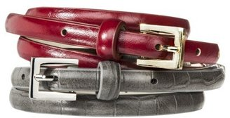 Mossimo Skinny Belt Set of 2 - Red/Grey