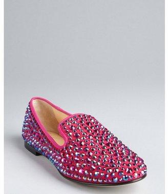 Giuseppe Zanotti fuchsia suede rhinestone studded loafers