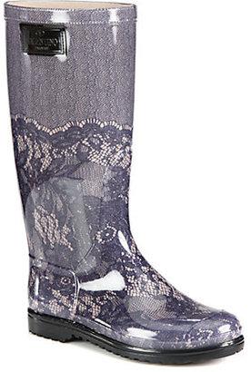 Valentino Lace-Printed Rubber Rain Boots