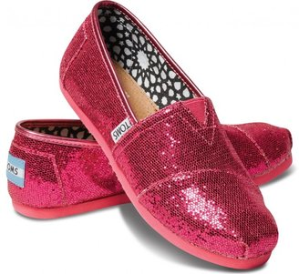 Toms Hot pink youth glitters