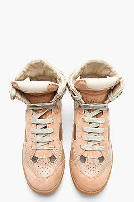Maison Martin Margiela Beige Suede Mesh-Trimmed Replica Sneakers