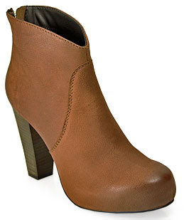 Steve Madden Steven by Regainn - Cognac Leather Platform Ankle Bootie