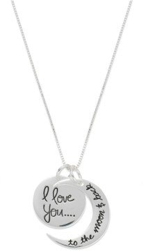"Unwritten Sterling Silver Necklace, ""Love You to the Moon"" Charm Pendant"