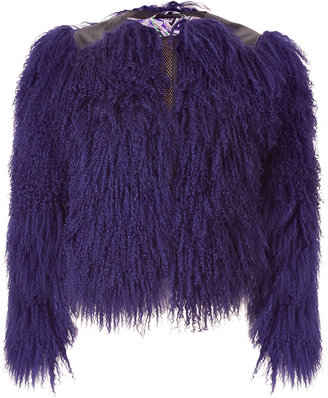 Etro Amethyst Fur and Leather Combo Jacket