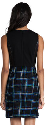 Shoshanna Everett Plaid Leather Combo Marlee Dress