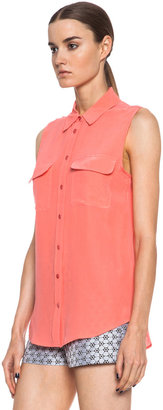 Equipment Slim Signature Silk Blouse in Coral