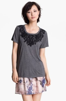 Haute Hippie Lace Detail Tee Charcoal Large