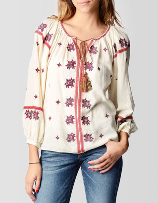 True Religion Womens Embroidered Peasant Top