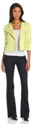 Helene Berman Women's Jacquard Collarless Zip Biker Jacket