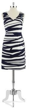 Nine West Striped V Neck Dress