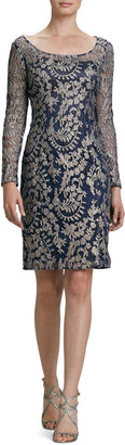 Kay Unger New York Long-Sleeve Metallic Lace Cocktail Dress