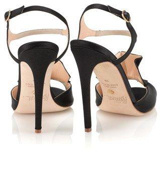 Jerome C. Rousseau Black Silk Ruffle Mills Heels