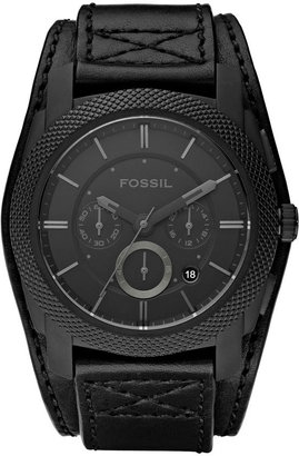 Fossil 'Machine' Leather Cuff Watch