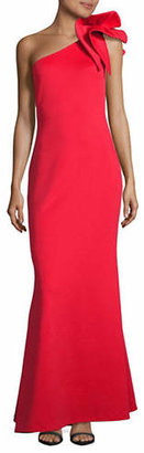Betsy & Adam One Shoulder Column Gown