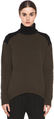 Givenchy Contrast Turtleneck in Dark Green