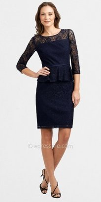 Adrianna Papell Lace Long Sleeved Peplum Cocktail Dresses