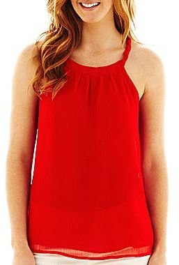 JCPenney a.n.a® Pleat-Neck Tank Top