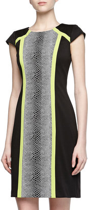 Chetta B Stretch Pattern Color-Block Dress, Black Multi