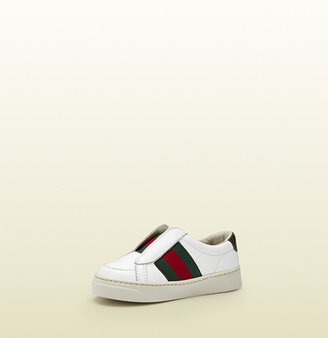 Gucci Toddler White Leather Sneaker With Web