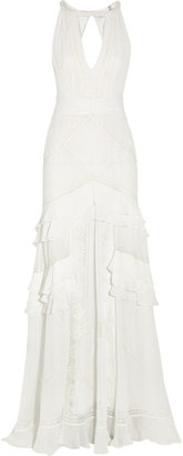 Temperley London Marguerite Lace-Trimmed Silk-Chiffon Gown