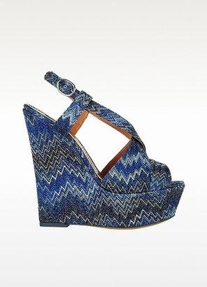 Missoni Iridescent Dark Blue Flame Stitch Wedge