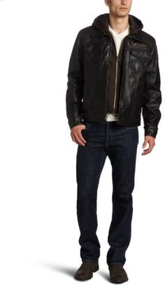 Levi's Men's Faux-Leather Trucker Hoodie Jacket