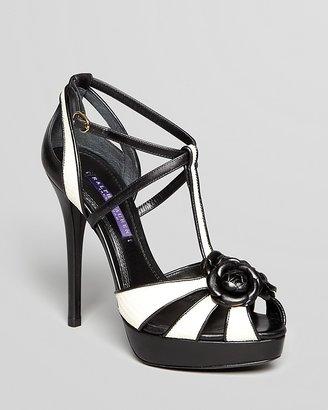 Ralph Lauren Open Toe T Strap Sandals - Jecelyn II High Heel