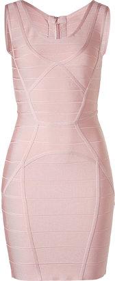 Herve Leger Pale Pink Mini Bandage Dress