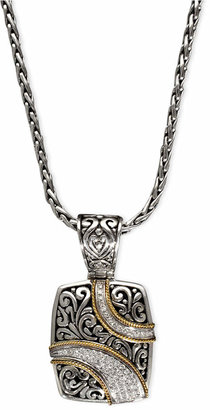 Effy Balissima by Diamond Ribbon Pendant (1/4 ct. t.w.) in 18k Gold and Sterling Silver