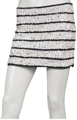 Gryphon Sailor Stripe Mini Skirt with Sequins in Navy/White